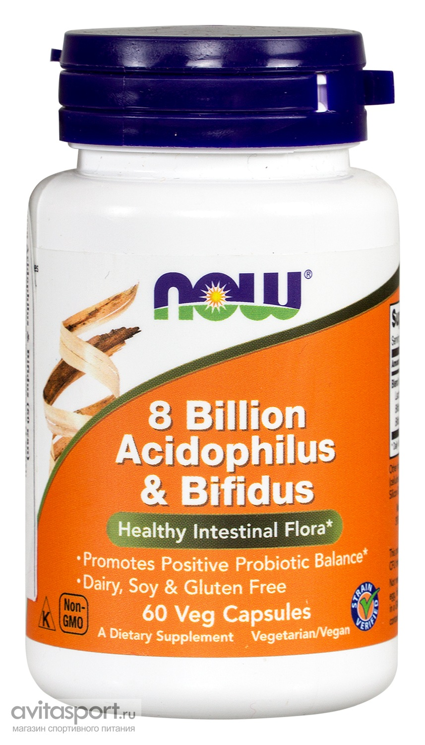 NOW 8 Billion Acidophilus & Bifidus 60 капсул