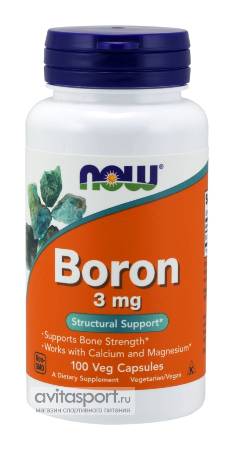 NOW Boron 3 мг  / 100 капсул