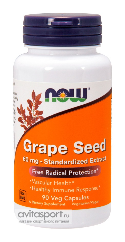 NOW Grape Seed 60 мг / 90 капсул вегетарианских