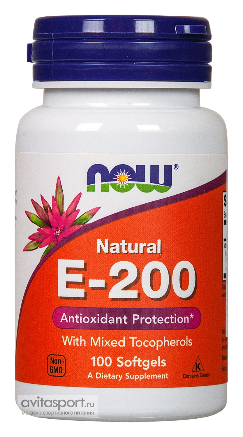 NOW Natural E-200 100 гелевых капсул