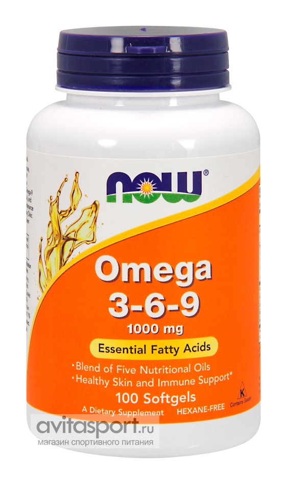 NOW Omega 3-6-9 1000 мг / 100 капсул гелевых