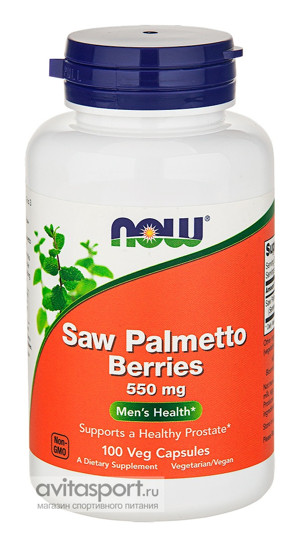 NOW Saw Palmetto Berries 550 мг / 100 капсул вегетарианских