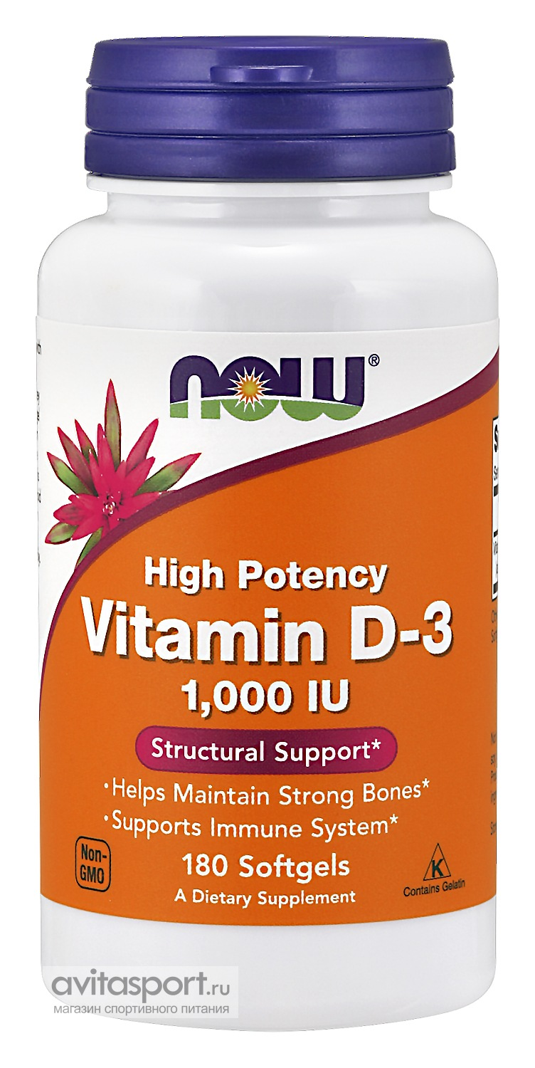 NOW Vitamin D-3 180 капсул гелевых