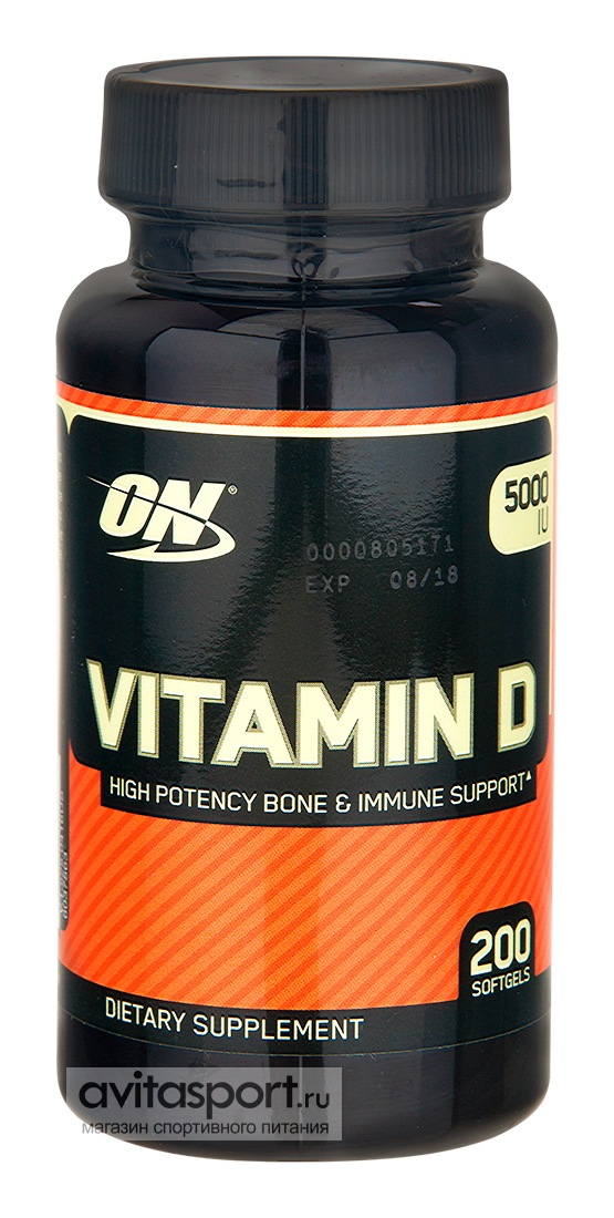 Optimum Nutrition Vitamin D 200 гелевых капсул